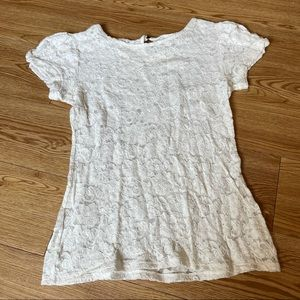 2/$15 Express Cream Lace Cap Sleeve Blouse Size M